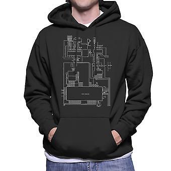 Sega Genesis Computer Schematic Men's Hooded Sweatshirt