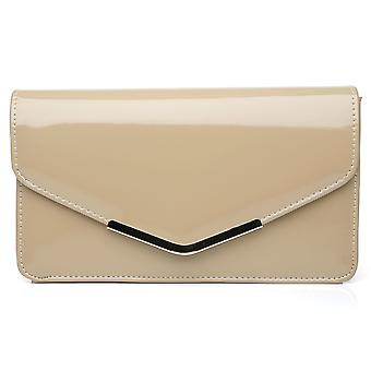 LUCKY Dark Nude Patent PU Leather Medium Size Clutch Bag
