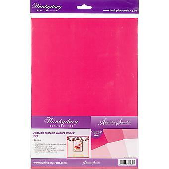 Hunkydory Adorable Scorable A4 Cardstock 24/Pkg-Pink Tones AS172