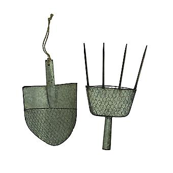 Galvanized Metal Pitchfork and Garden Shovel Wall Planter Set