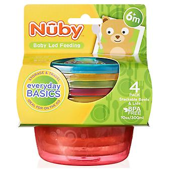 Nuby Stackable Bowls With Lids x4