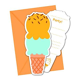 Ice cream ice cream party invitation cards 6 piece children birthday theme party