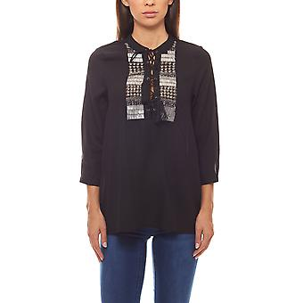The ethno-look tunic with studs and lacing black rick cardona