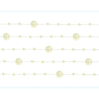 5 Ivory 1.3m Pearl Bead Garlands for Crafts & Floristry | Childrens Craft Beads