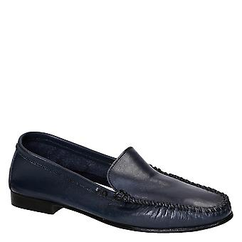Women's driving moccasins in blue calf leather