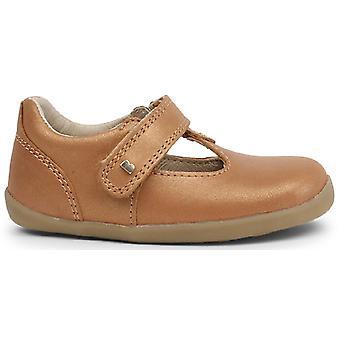 Bobux Step Up Girls Louise T-bar Shoes Caramel Shimmer