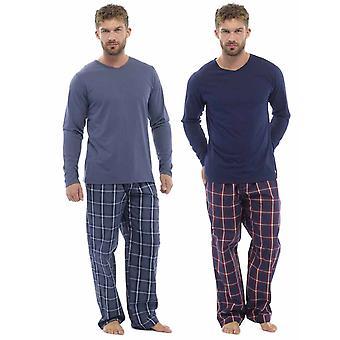 Mens Plaid seleção impressão calças - pijama Top de Jersey (Pack de 2)