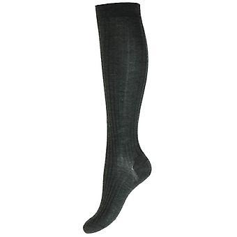 Pantherella Rose Merino Wool Knee High Socks - Charcoal