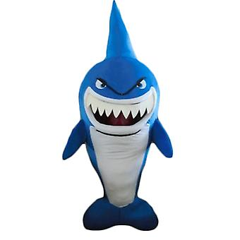 mascot SPOTSOUND of blue and white, very funny, ferocious shark