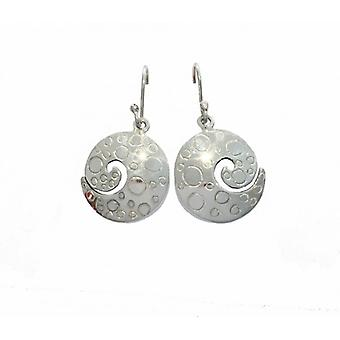 Cavendish French Sterling Silver Etched Swirl Earrings