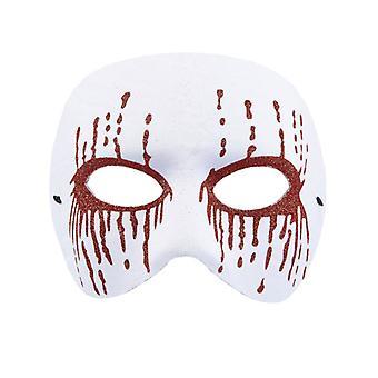 Vit Psycho Mask med röda Glitter blödning ögon