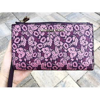 Michael Kors Jet Set Double Zip Wristlet Phone Wallet Mulberry Damson Purple Floral