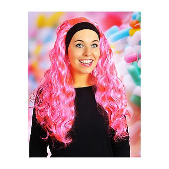 Parrucca parrucche con capelli lunghi e fascia per capelli Jenna Hot Pink