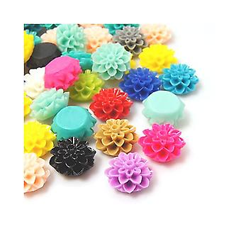 Packet 20 x Mixed Resin Flat Back 15mm Flower 8mm Thick Cabochon Y03765