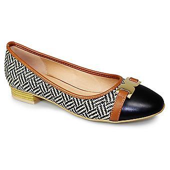 Dames doorkruisen lage hak Slip op Gold Buckle Two Tone pompen Flats schoenen
