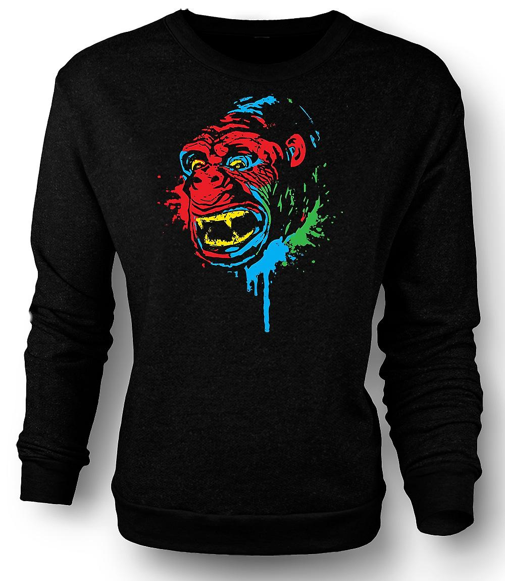 Mens Sweatshirt Pop Art - Ape Gorilla - kult Design