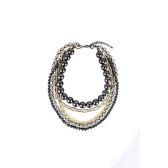 Lovemystyle Multi Layer Choker Necklace With Chains and Pearls