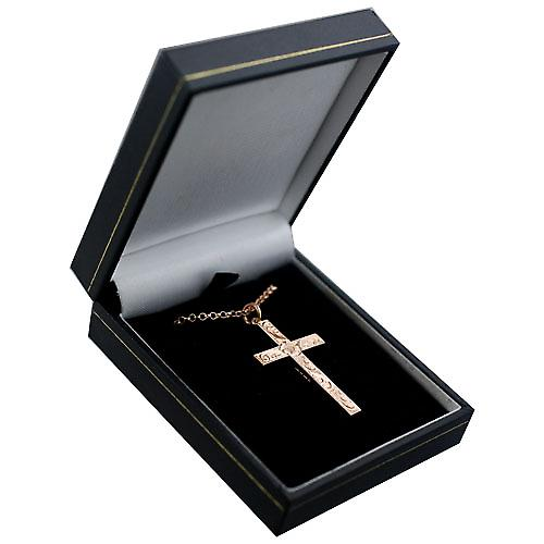 9ct Rose Gold 40x25mm victorian hand engraved solid block Cross with a belcher Chain 16 inches Only Suitable for Youths