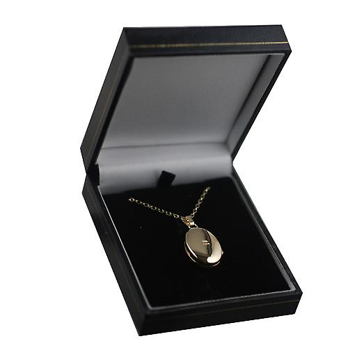 9ct Gold 22x15mm oval hand engraved Locket with a belcher Chain 16 inches Only Suitable for Children