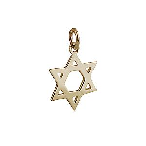 9ct Gold 18mm Star of David plain pendant