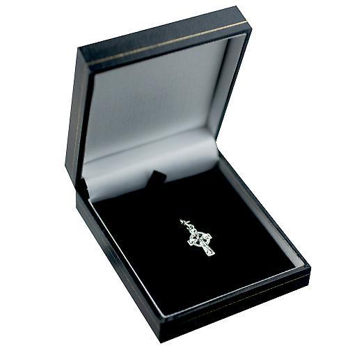 Silber 16x10mm Hand graviert Celtic Cross