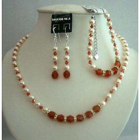 Designer Bridal Fashion Jewelry Pearls Necklace Bracelet & Earrigns