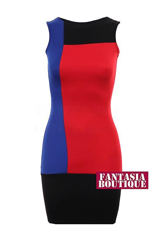 New Ladies Sleeveless Panel Slim Effect Women's Bodycon Dress