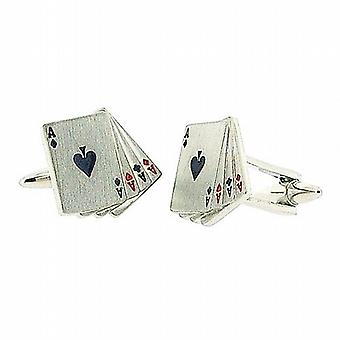 Stratton Gents Rhodium Fanned Playing Card Cufflinks In Branded Box