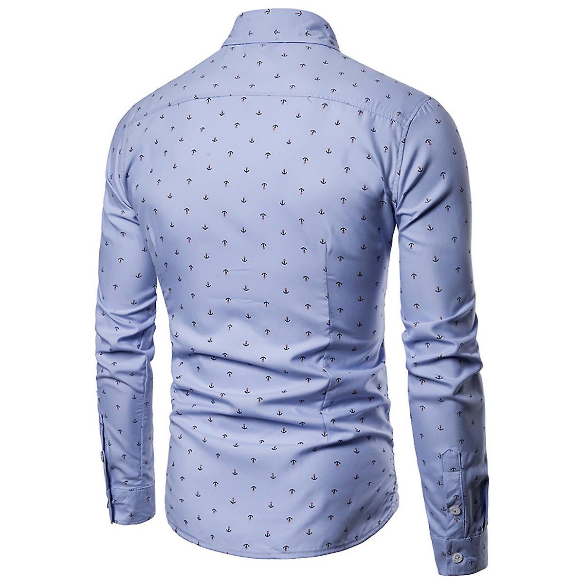 a316ed9e8 Allthemen Men's Long Sleeve Shirt Printed Anchor Cotton Blend Shirt 4 Colors