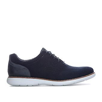 Mens Rockport Garett Mesh Lace Up Shoes In Navy- Lace Fastening- Trutech�