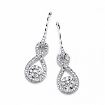 Cavendish French Silver and Cubic Zirconia Figure of Eight Drop Earrings