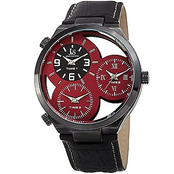 Joshua & Sons Men's JX119RD Two Time Zones Small Seconds Leather Strap Watch