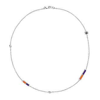 Clemson University Tigers logo indgraveret diamant 5-Station halskæde i mørk orange og lilla