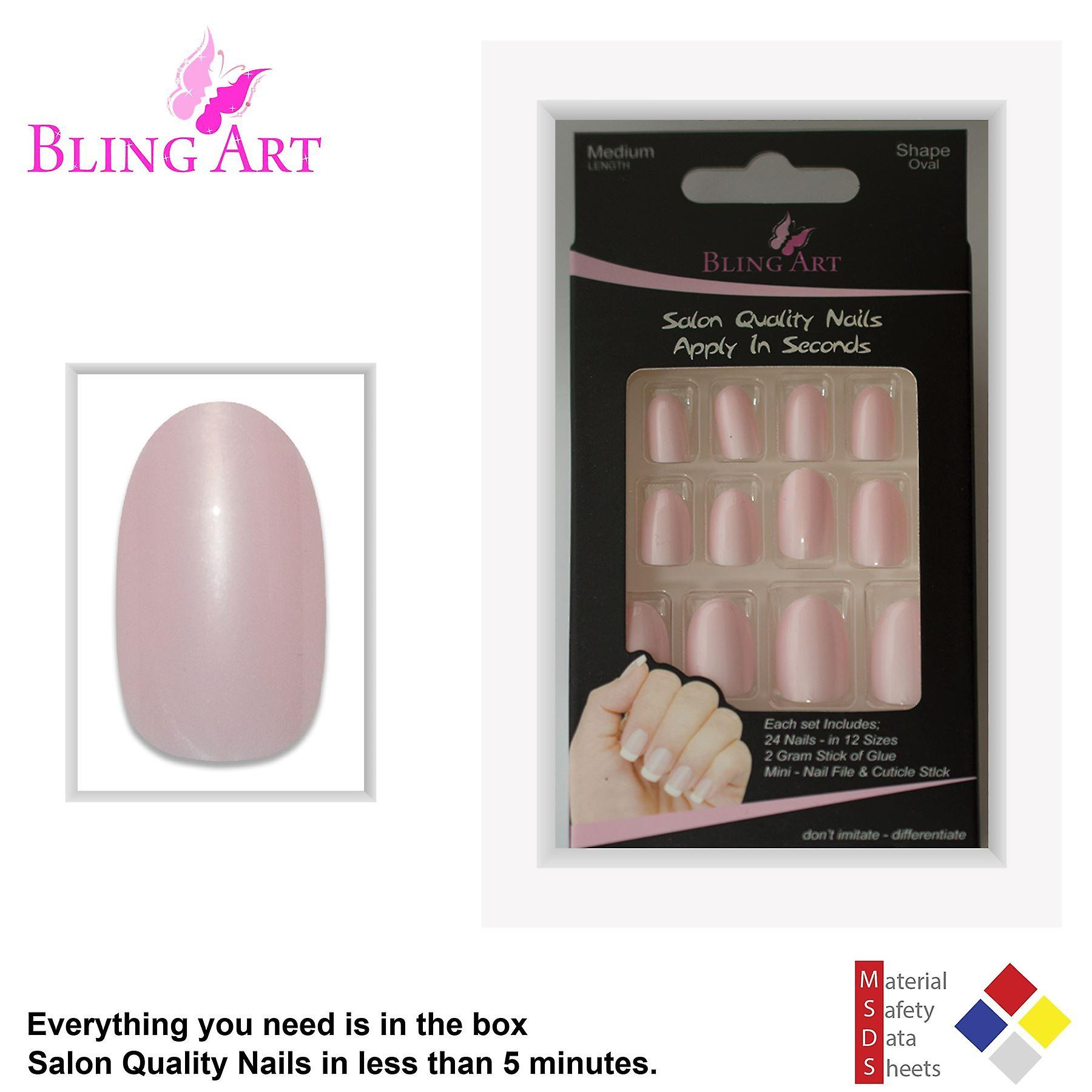 False nails by bling art pink glitter oval medium fake acrylic 24 tips with glue