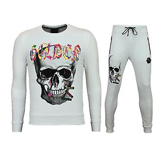 Herren Skinny Trainingsanzug-Joggingpak Männer billig-Color Skull-White