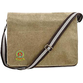 15th 19th Royal Kings Hussars Colour - Licencia British Army Embroidered Vintage Canvas Despatch Messenger Bag