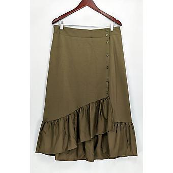 Du Jour Skirt Button Front Knit w/ Flounce Green A307041