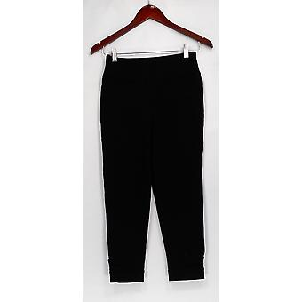 Denim & Co. Leggings Active Cropped w/Cuff Detail Black A292471