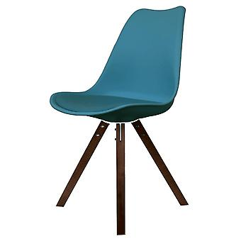 Fusion Living Eiffel Inspired Petrol Blue Plastic Dining Chair With Square Pyramid Dark Wood Legs