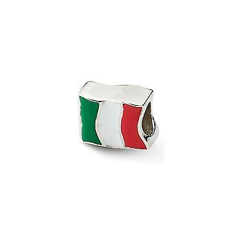 925 Sterling Silber Emaille poliert antike Finish Reflexionen Italien Flagge Perle Charme