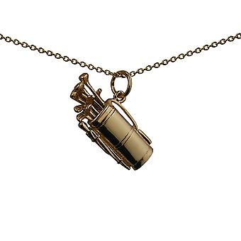 9ct Gold 24x10mm Golf Bag and Clubs Pendant with a cable Chain 20 inches