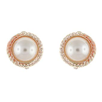 Clip On Earrings Store Gold & Ivory Pearl Round Rope Clip on Earrings