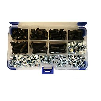 640Pc Black Socket Button Head Setscrews With Washers and Nuts M5 5MM
