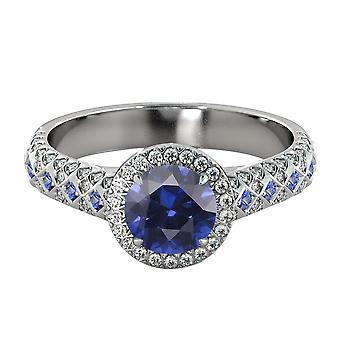 2.50 ctw Blue Sapphire Ring with Diamonds 14K White Gold Vintage Micro Pave Halo