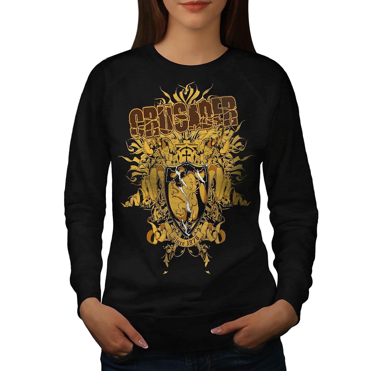 Crusader Shield Fashion Women Black Sweatshirt | Wellcoda