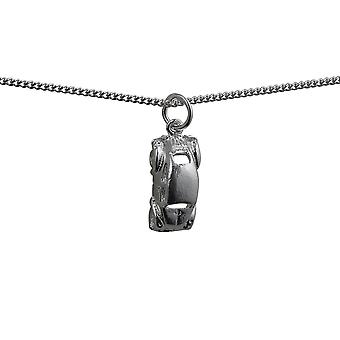 Silver 16x8mm VW Beetle Car Pendant with a curb Chain 18 inches