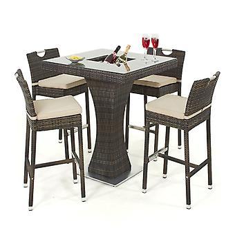 Maze Rattan 4 Seat Garden Bar Set With Ice Bucket