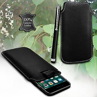 i-Tronixs Asus ZenFone AR Genuine Leather High Quality Pull Tab Flip Phone Case Cover With Stylus Pen Black