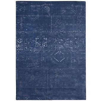 Distressed Windsor Blue Tribal Flatweave Rug 170 x 240 - Louis De Poortere