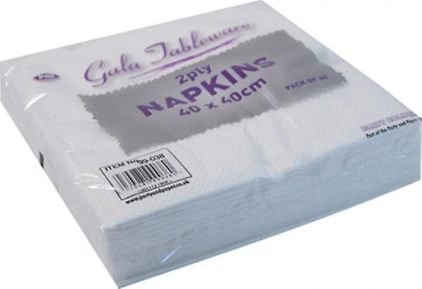 Gala Tableware 2 Ply Soft Paper Napkins White Pack of 40 Disposable Party Tableware